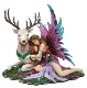 Large Sleeping Fairy With Sacred White Stag Figurine